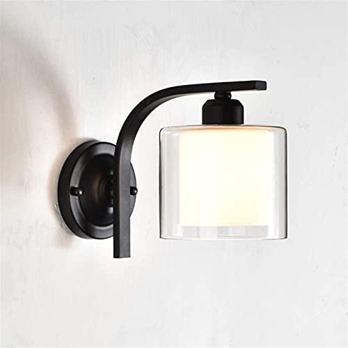 Lámpara de pared VIWIV Personalidad creativa Lámpara de pared de vidrio retro Pantalla de hierro forjado Lámpara de noche Iluminación Faros blancos Lámpara de espejo 5-25 metros cuadrados Sala de esta