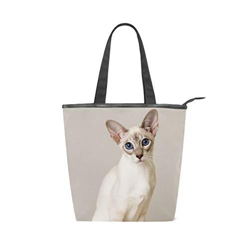 FANTAZIO Damen Handtasche mit Katzenhöhle, Weiß