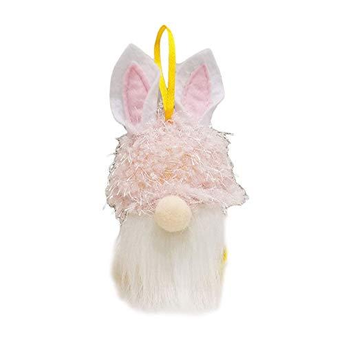 Gnomo de conejito de Pascua con luz LED Sueco hecho a mano Conejo Tomte Peluches Adornos de muñecas Decoración de fiesta en casa de vacaciones Niños Eas