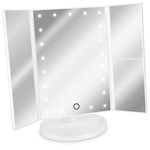 Navaris Miroir Lumineux LED 3 Faces à Poser - Miroir Maquillage Triptyque Pliable sur Pied avec Effet Grossissant x2 x3 - Pile ou USB - Blanc