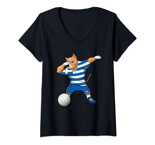 Mujer Dabbing Pit Bull Grecia Voleibol Fans Jersey Grecia Deporte Griego Camiseta Cuello V