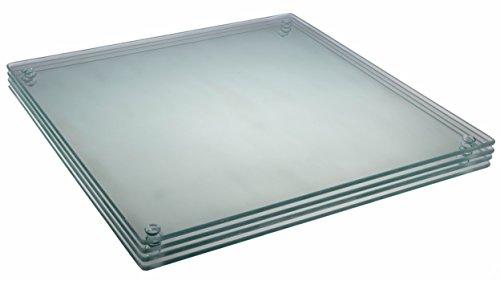 Clever Chef - Lot de 4 Planches à découper en Verre - carrées/antidérapantes/Solides - résistent aux Chocs/Taches - Peuvent être mises au Lave-Vaisselle - Blanc - 29,8 x 29,8 cm