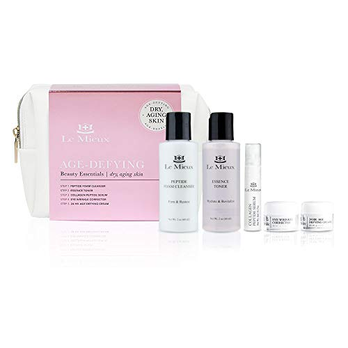 Le Mieux Age-Defying Beauty Essentials for Dry Skin - 5-Piece Luxury Skincare Facial Set - Peptide Foam Cleanser, Essence Toner, Collagen Peptide Serum, Eye Wrinkle Corrector & 24 Hr Age Defying Cream