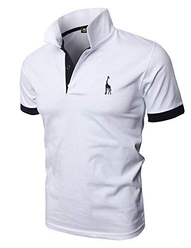GHYUGR Polos Manga Corta Hombre Bordado de Ciervo Camisas Slim Fit Camiseta Deporte Golf Poloshirt Verano Primavera T-Shirt Oficina,Blanco,XL