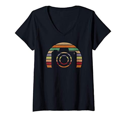 Mujer Diseño de cámara de estilo retro vintage para fotógrafos Camiseta Cuello V