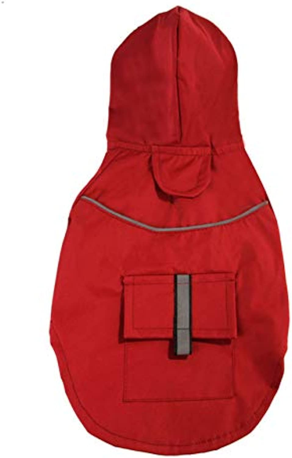 Dog Raincoats Waterproof, Dog Raincoat with Hood Collar Hole Pockets, Lightweight Packable Outdoor Dog Hooded Raincoat, Small Or Medium Dogs,Red,S