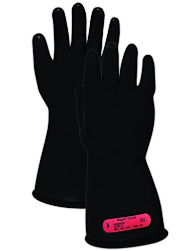 Magid Safety M011B9 Electrical Gloves | ASTM D120-09 Compliant Class 0 Rubber Electrical Insulating Gloves with Straight Cuff, Work, 11