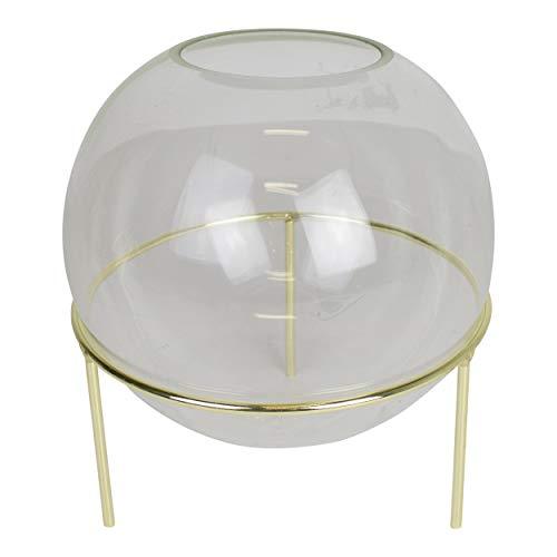 Housevitamin bolvaasje/glazen vaas - in goud metalen standaard - 19cm hoog