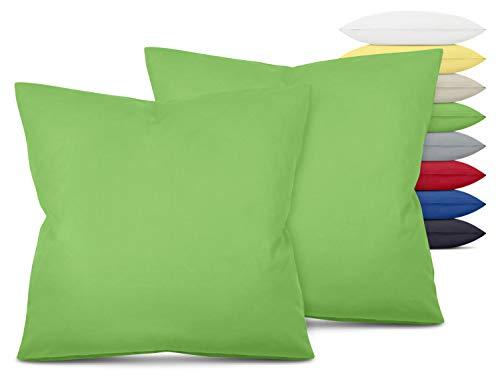 Unifarbene Kissenbezüge im Doppelpack - in 8 Farben und 3 Größen - Moderne Wohndekoration in dezentem Design, ca. 80 x 80 cm, grün