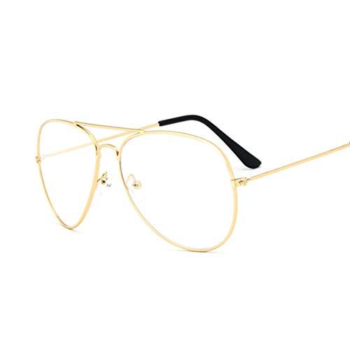 NJJX Gafas De Sol Con Montura Dorada De Aviación, Gafas Clásicas Para Hombre, Lentes Transparentes Transparentes, Gafas Ópticas Para Hombres Y Mujeres, Estilo Piloto, Oro