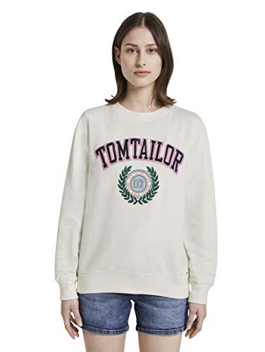 TOM TAILOR Denim Damen Logo Sweatshirt, 10332-Off White, L