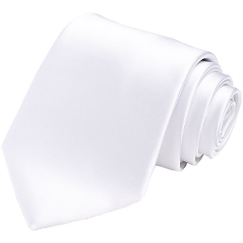 KissTies White Tie Mens Necktie Satin Wedding Ties + Gift Box