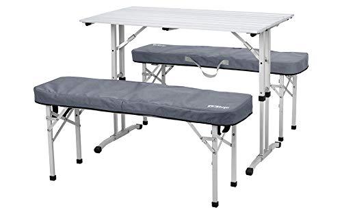 BERGER Picknicktisch 90 x 52,5 cm Esstisch Camping klappbar Outdoor Gartentisch Terrasse Aluminium