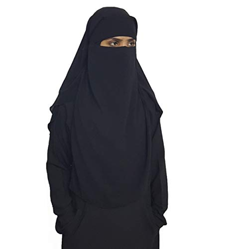 Niqab - velo de cabeza con doble khimar para mujer musulmana y elegante vestido de muselina de seda, estilo retrovisor, color negro, dos caras