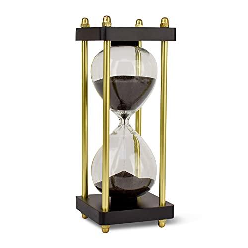 Edle Sanduhr 15 Minuten Chronometrie I Dekorative Sanduhr aus Glas mit feinem schwarz-schimmernden Sand veredelt mit goldenen Seitstützen