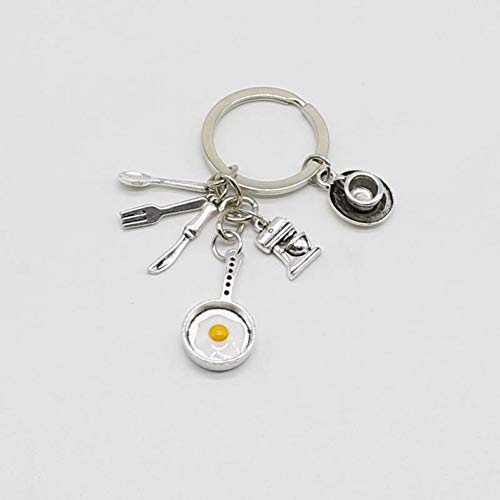 JLZK 1 Kaffeetasse, Kaffeemaschine,Pommes-Schlüsselbund, Eierpfannen-Schlüsselbund, Koch, Bäckerei, Geschenk,Schlüsselanhänger