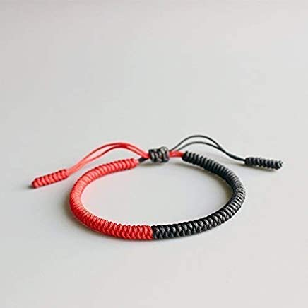 Tale Design Lucky Knots Bracelet Handmade by Tibetan Buddhist Blessed By Lama Half Red Half Black - Energy
