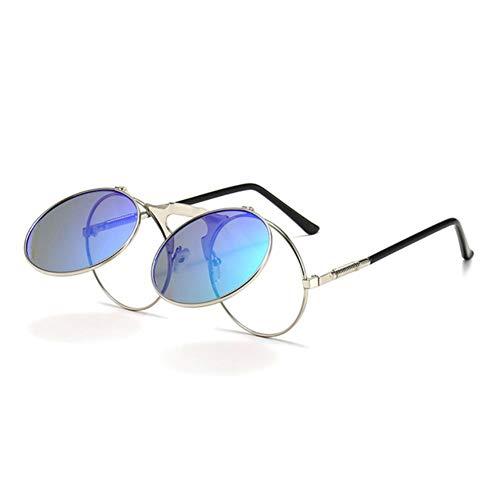 Gafas de sol para mujer Retro Metal Punk Vapor Flip Gafas de sol Flip Gafas de sol Hombres Y Mujeres Personalidad Gafas de sol Señoras Sunglasse