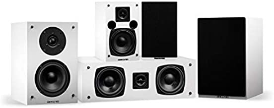 Fluance Elite High Definition Compact Surround Sound Home Theater 5.0 Channel Speaker System Including 2-Way Bookshelf, Center Channel and Rear Surround Speakers - White (SX50WHC)