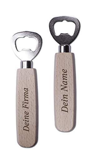 Flesopener van elzenhout met eigen gravure; klassieke bierflesopener met eigen tekst of logo; flesopener ca. 14 x 4 x 1,8 cm.