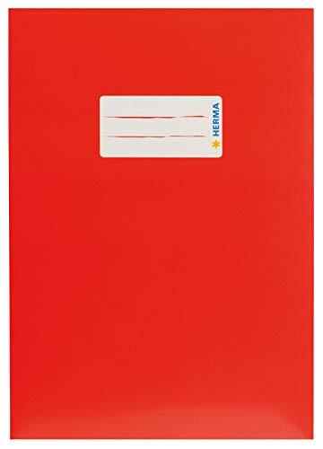 HERMA 19762 Karton Heftumschlag DIN A5 mit Beschriftungsetikett, aus stabilem und extra starkem Papier, Heftschoner für Schulhefte, rot