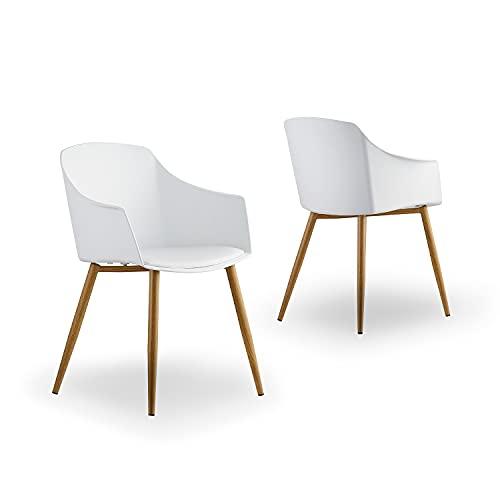 Life Interiors: Eden - Silla de baño | Diseño moderno | Asiento acolchado | Silla de comedor | Sillón | Juego de 1,2,4,6 | (blanco, 4)