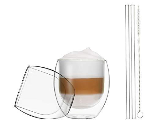 Duos Jumbo Thermoglazen met glazen drinkrietjes, 410 ml, borstel, dubbelwandige glazen met zweefeffect en glazen rietjes