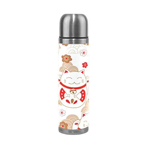 Thermos ThermoCafé Botella térmica aislada, Patrón de gatos de la suerte japoneses de dibujos animados,Frasco de Vacío de Acero Inoxidable 500 ml
