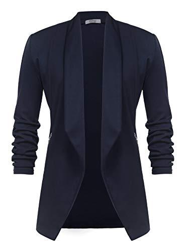 Unibelle Damen Blazer Lang Cardigan Tailliert Elegant Casual Jacke Blazer Slim Fit Anzug Trenchcoat Blau S