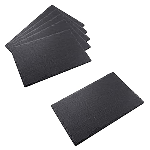 HANHAN Lot de 6 assiettes en ardoise noire, en pierre naturelle, plateau en ardoise pour fromage, anti-repas, apéritif, sushis et autres (30 x 20 cm)