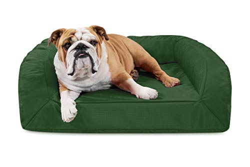 K9 Ballistics Tough Orthopedic Medium Bolster Dog Bed - Washable, Durable and Waterproof Dog Bed - Made for Medium Dogs, 27'x33', Green