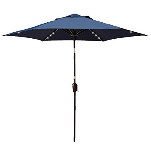 Sundale Outdoor 7.5 Ft Solar Powered 30 LED Lighted Patio Umbrella Table Market Umbrella with Push Button Tilt for Garden, Deck, Backyard, Pool, Polyester Canopy (Navy)
