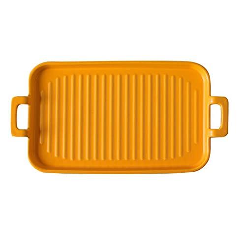 1 Piece Bakeware Creative Binaural Ceramic Baking Pan Baking Sheet Yellow