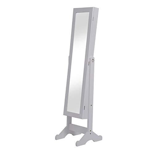 2 en 1 Espejo de Pie y Joyero Organizador para Dormitorio o vestidor - con Soporte de Suelo - Madera - Color Blanco - 34x37x144cm