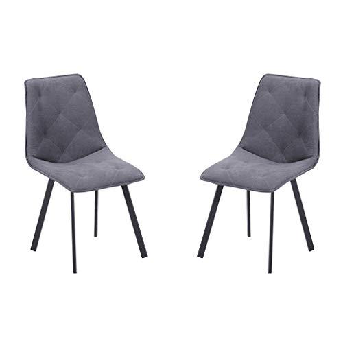 Adec - Diamond, Pack 2 sillas de Comedor Salon o Cocina, Tapizada en Tejido Color Gris, Medidas: 45