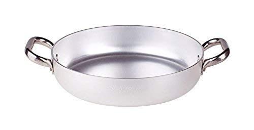 Pentole Agnelli ALMA11022 Alluminio Professionale 3 mm, Tegame con 2 Maniglie, 22 cm