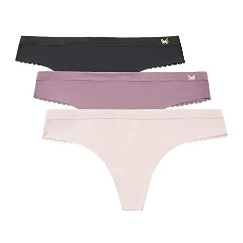 Jessica Simpson Women's No Show Thong Panties Underwear Multi-Pack, (3-Pack) Black/Grape Shake/Rose Smoke, Medium