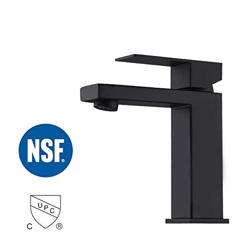 KES Black Bathroom Faucet Single Handle Type Stainless Steel Faucet Lavatory cUPC Certified Vanity Sink Faucet Matt Black, L3156ALF-BK