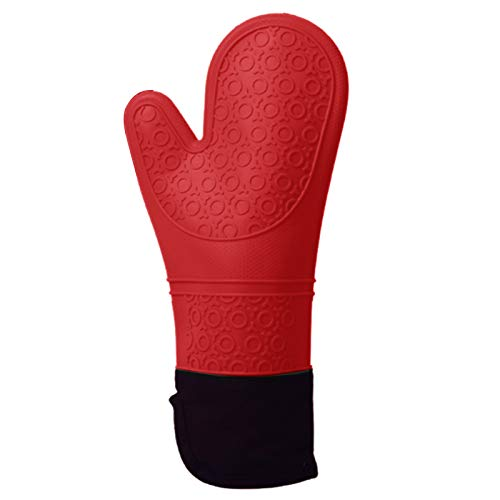 Hylotele 1 par de guantes de horno de silicona con forro acolchado de algodón, resistentes al calor, extra largos, antideslizantes, para cocinar, hornear, asar, utensilios de cocina