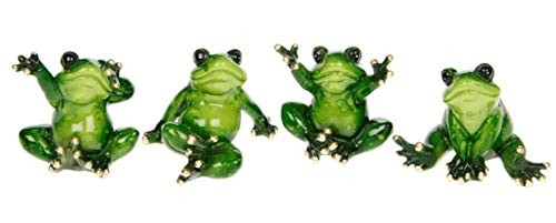 Shudehill Giftware Set of 4 Cute Novelty Mini Green Ceramic Sitting Frog Ornaments - 8cm