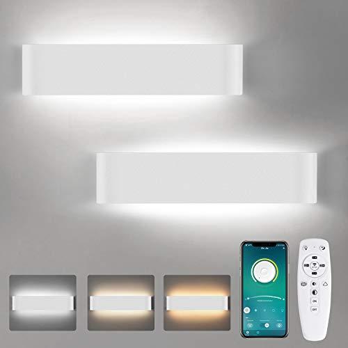 Lámpara LED de pared interior, 2 unidades, 24 W, regulable, lámpara de pared inteligente con mando a distancia y aplicación Bluetooth, 2700 K-6000 K, blanco cálido, blanco natural, blanco frío
