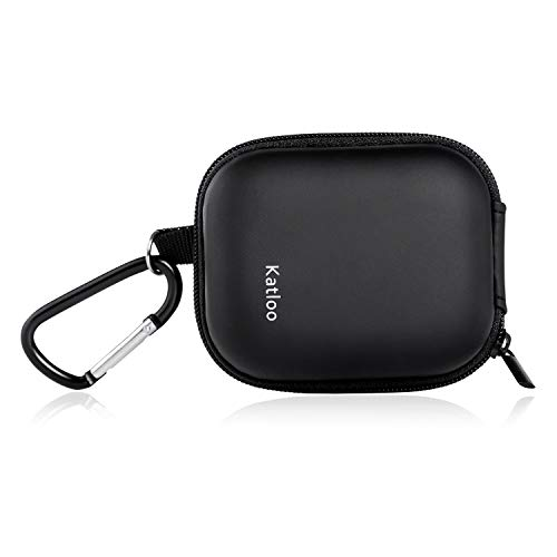 Earbud Case with Carabiner Clip Mini Earphone Carrying Case EVA Small Protection Pouch for USB Cable Portable Storage Bag Katloo (Black)