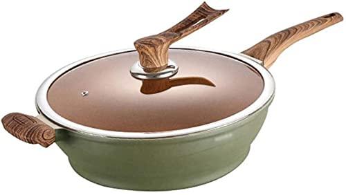 TINGFENG Wok Pan para el hogar Sartén antiadherente con patrón de mármol verde Cubierta Wok Tapa de baquelita