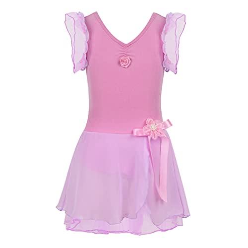 IEFIEL Vestido Flores de Danza Ballet para Niña Vestido Manga Volante de Baile Latino Disfraz Bailarina Niña Maillot Tutu de Danza Clásica Morado XL (8-10 años)