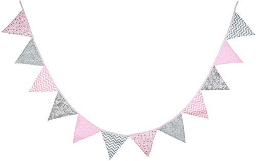 Oblique-Unique® Bunte Wimpel Girlande Baumwolle Wimpelkette Doppelseitig Farbenfroh Drinnen und Draußen - Motiv wählbar (Rosa-Grau)