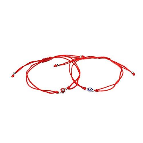 cdzhouji Pendiente 2 Pcs Pulsera De Ojo Trenzado Afortunado Malvado Ojo Brazalete Ajustable Cuerda Cuerda Pulsera Amistad Pulsera Joyería Conjunto para Hombres Mujeres Rojo Azul