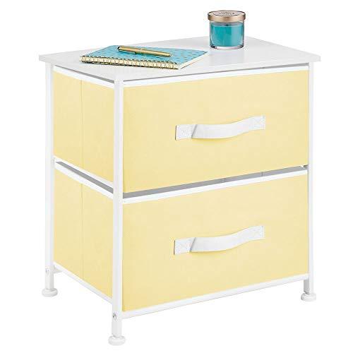 mDesign Mesita de noche con 2 cajones – Cómoda pequeña hecha de tela, metal y MDF – Decorativas cajoneras para armarios, para el dormitorio o el salón – amarillo/blanco