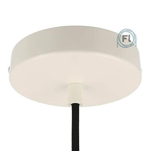 Flairlux All-in-One Baldachin für Lampe 1 Loch Metall weiß rund 120x25mm inkl Wago Klemmen, Klemmnippel zylindrisch