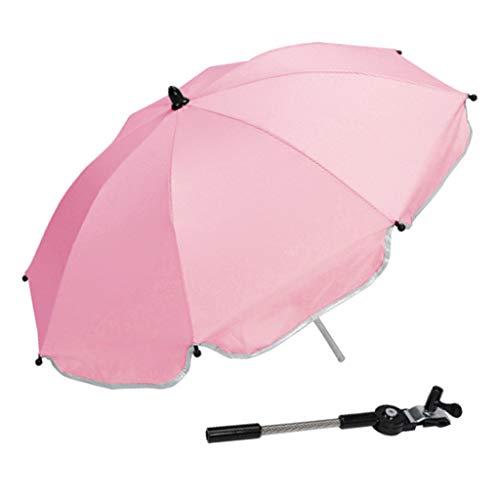 F Fityle Universal Paraguas para Carrito, Sombrilla para Cochecito de bebé, UV 50 + Protección Solar - Rosado