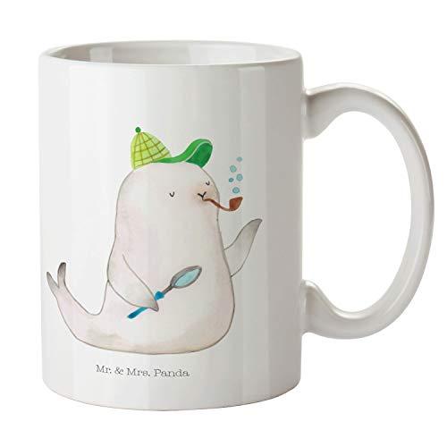Mr. & Mrs. Panda Frühstück, Kaffeebecher, Tasse Robbe Sherlock - Farbe Weiß
